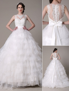 Ball Gown Wedding Dress Sweetheart pizzo Applique Organza Tiered Chaple treno abito da sposa Milanoo