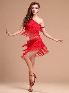 Dança Latina Tassel duas peças um ombro vestido