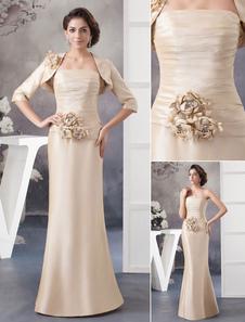 Madre di due pezzi della sposa abito abiti fiori senza spalline pavimento-lunghezza abito sera Milanoo