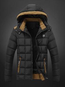 Мужские стеганые пальто Deep Blue Puffer пальто с капюшоном с длинным рукавом Зимнее пальто