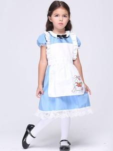 子供コスチューム ブルー 不思議の国のアリス キッズ用 ハロウィン ポリエステル ドレス  ハロウィン