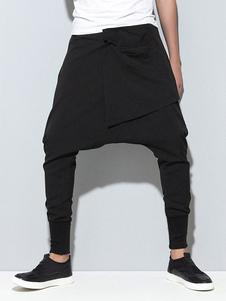 Homens Harem Pants Calças de Virilha de Gota Calças de Harem Calças de Basculador pretas