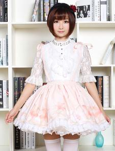 Lolita bonito vestido doce rosa flor impressa Qi Lolita saia de guarnição do laço com suspensor