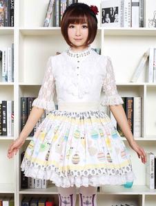 Lolita bonito vestido Multicolor ovo de Páscoa coelhos impresso saia Lolita com guarnição do laço branco
