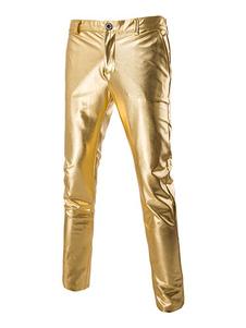 Мужчины Брюки Повседневная Золотая Кожаная Нога Металлические Штаны