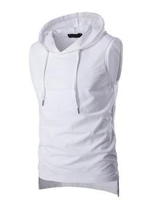 Tanque con capucha sin mangas T camiseta camiseta para los hombres en negro/blanco/gris