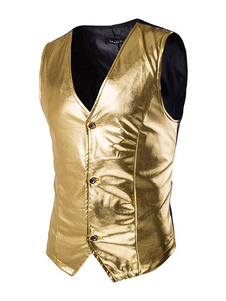 スーツ ベスト ゴールド  無地 スリム メンズベスト フォーマル ジャケット ポリエステル ブレザー ジャケット カジュアル 格安メンズファッション ストリートウェア メンズファッション Vネック フロントボタン