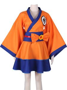 Disfraz Carnaval Dragon Ball Z Son Goku Kakarotto hembra Lolita Kimono vestido traje de Cosplay Anime Halloween Carnaval