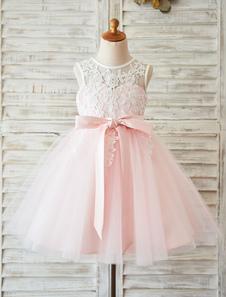 Abito da sposa Ragazza di fiori 2020 Vestito da cerimonia nuziale del tutù del tutu del nastro di colore rosa del blush del merletto dei bambini