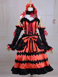 Disfraz Carnaval Fecha un vivo Tokisaki Kurumi Cosplay traje Lolita Vestido Halloween Carnaval