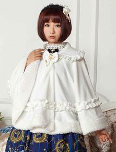 Сладкая Лолита одежды белый лук трепал плащ Milanoo Лолита с Питер Пэн воротник