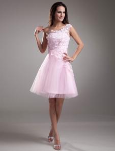Кружева платье для коктейля короткое выпускного вечера одно плечо платье розовый тюль платье партии