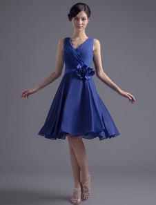 Azul de Dama de honor vestido de gasa corto flor abierta de espalda Vestido de fiesta de boda