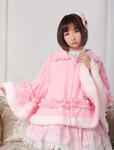 Dulce Lolita ropa lazo rosa con volantes Milanoo Lolita manto con cuello Peter Pan