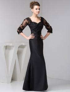 Madre de novia manga larga encaje sirena largo vestido de noche negro