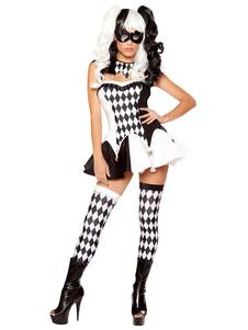 Palhaço de Halloween traje quadriculada Two-Tone vestido de conto de fadas para mulheres Halloween