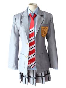 Sua mentira em abril Miyazono Kawori escola de traje Cosplay uniforme de garota Halloween