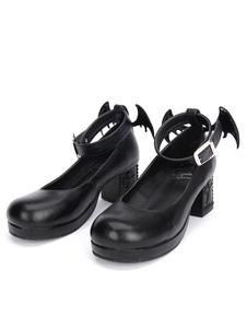 Gothic Lolita sapatos preto Cruz gatinho de sapatos Mary Jane tornozelo cinta Gothic Lolita adorne bombas com asa mal