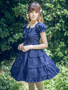 Классическая Лолита платье слоистых оборками Лолита платье короткими рукавами Лолита Op платье с бантами