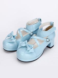 Сладкая Лолита туфли светло синий крест Лук Лолита милый ботинки лодыжки ремень низком каблуке Лолита насосы с съемный бант