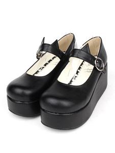 Gothic Lolita sapatos preto plataforma sapatos de Lolita de Jane de Mary com orelha de gato