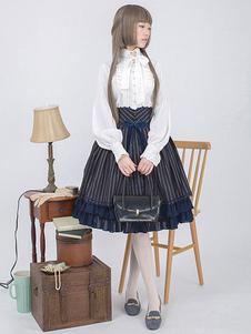 Lolita vitoriana camisa laço laço babados Lolita clássica blusa com gola mandarim