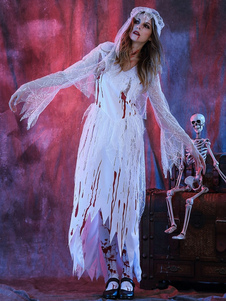 Disfraz Carnaval Vestido blanco de halloween traje novia cadáver la mujer con Heagear Halloween Carnaval