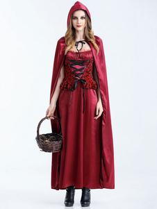 Costume Carnevale Carnevale Little Red Riding Hood costumi Cosplay vestito delle donne con i guanti