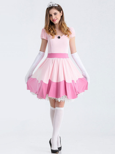 Traje do vestido rosa Super Mario Bros Skater Halloween