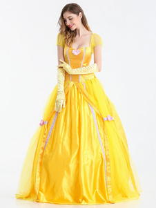 Costume Carnevale Beauty And The Beast Dress Yellow Scoop Princess Dress Costume Cosplay con guanti  Costume Carnevale
