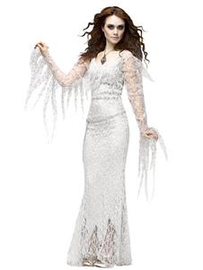 Disfraz Carnaval Holloween vampiro traje blanco de encaje Bodycon vestido para las mujeres Halloween Carnaval