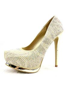 Oro tacco alto pompe Glitter perline Slip-on scarpe da sposa scarpe da sposa in piattaforma
