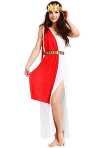 Хэллоуин Афина сексуальный костюм греческой богини женщин два тона Сплит платье одежды Хэллоуин