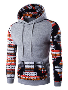 Мужской пуловер Hoodie племенных печатных балахон с длинным рукавом хлопка с карманом