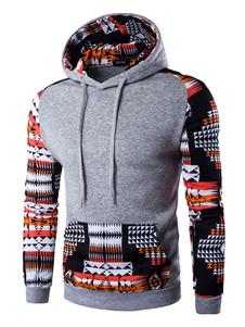 Suéter con capucha Tribal hombres impreso con capucha de algodón de manga larga con bolsillo