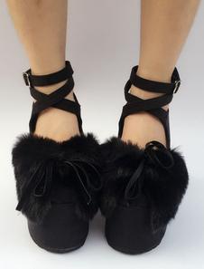 Ante Lolita zapatos negros plataforma tacón grueso piel sintética arco Cruz tobillo frontal correa Lolita bombas
