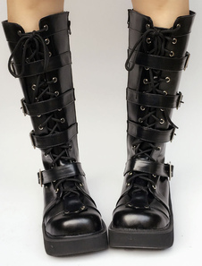 Nero Lolita stivali zeppa piattaforma rotonda Toe fibbia Lolita breve stivali con lacci