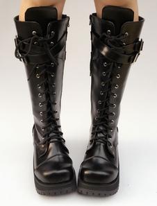 Nero Lolita stivali piattaforma tacco Lace Up croce fibbia anteriore rotondo Toe stivali Lolita