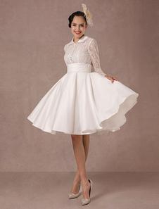 Vintage свадебное платье длинным кружевом рукавов атласная свадебное платье короткие длинные колена летние свадебные платья 2020 Milanoo