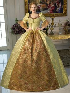 الذهب ريترو زي الباروك تربيع خط العنق تونك الكرة ثوب ثوب هالوين