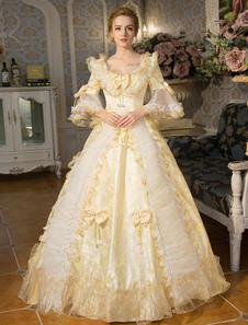 ازياء ريترو بيضاء الدانتيل الروكوكو كم طويل اندلع سترة الكرة ثوب لوليتا اللباس مع الانحناء هالوين