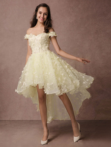 Хай-Лоу выпускного вечера платье кружева бисером Off плечо Homecoming платье без спинки 3D цветок аппликация платье для коктейля