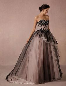 Preto vestido renda tule capela trem vestido nupcial Strapless querida a linha princesa luxo concurso vestido de casamento