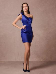 Vestido de cóctel de satén elástico azul brillante con escote a un solo hombro sin mangas con lazo