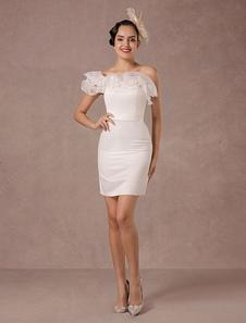 Vestido de Noiva curto Organza Off-the-ombro Ruffles bainha Mini vestidos de noiva do casamento do verão 2020