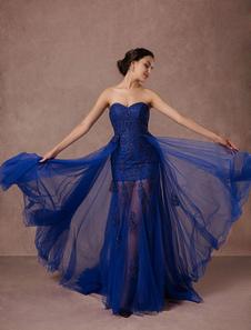 Vestido de noche de azul francia sin mangas con escote palabra de honor de encaje