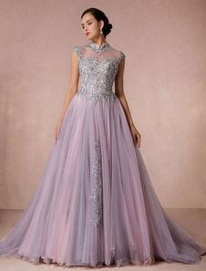 Rendas vestido tule Chaple trem vestido nupcial ilusão a linha decote vestido de Quinceanera luxo sem encosto concurso vestido de casamento