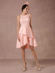 Короткое свадебное платье Розовый атласный винтаж Летние свадебные платья 2020 Онлайн-Асимметричный поезд коктейльное платье