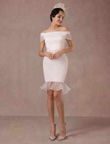 Короткое свадебное платье Русалка Off-плечо атласная Vintage свадебное платье Ruffles Мини свадебное платье летние платья 2020