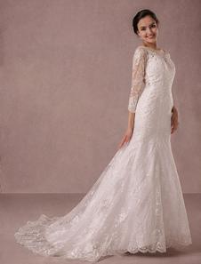 Sereia do vestido de casamento longo mangas rendas ilusão trás Applique Beading tribunal trem vestido nupcial Milanoo